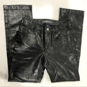 Gap Vintage Black Genuine Leather Boot Cut Pants